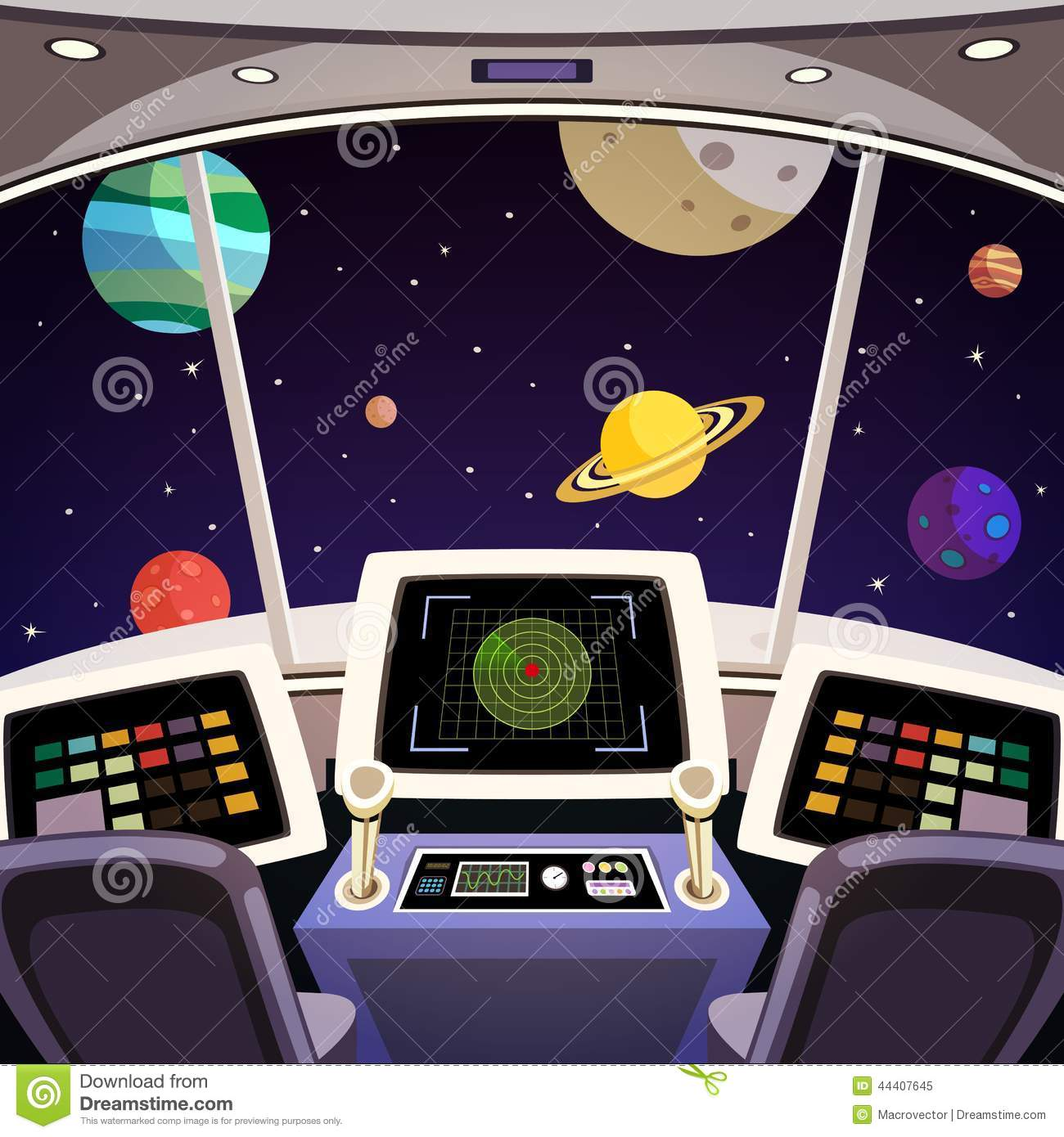 Flying Spaceship Cabin Futuristic Interior Cartoon With Space Backdrop