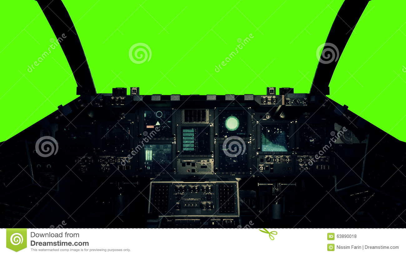 Spaceship Cockpit Pilot Point View Green Screen Background