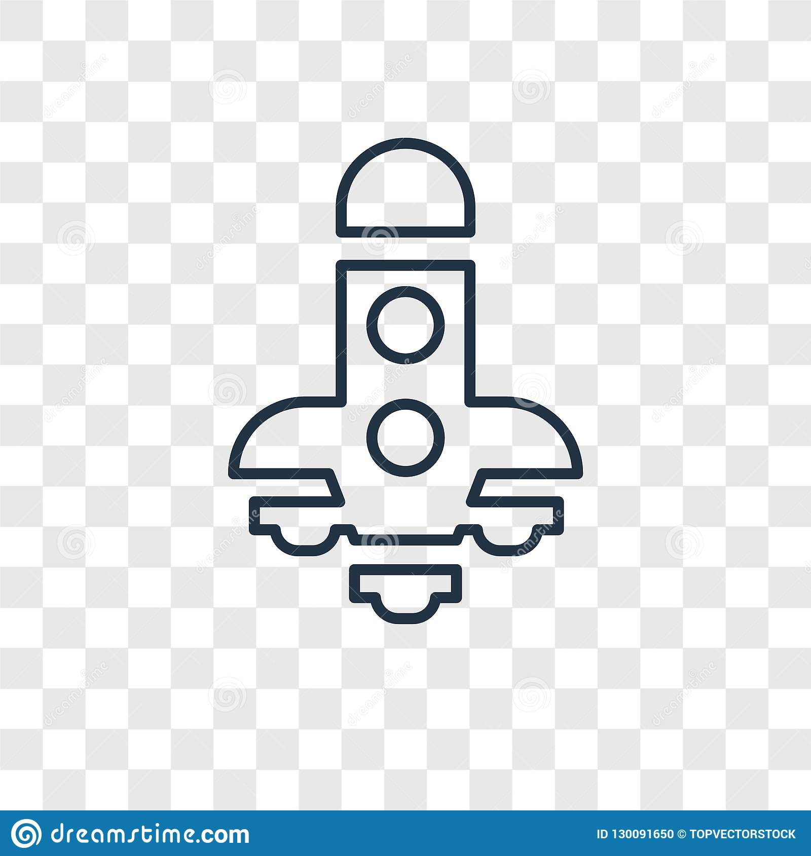 Spaceship concept vector linear icon isolated on transparent background, Spaceship concept transparency logo in outline style