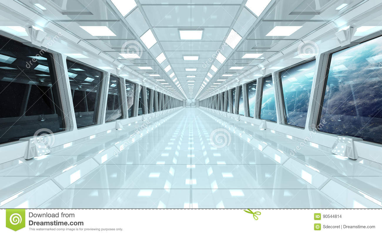 Spaceship Corridor With View On The Planet Earth 3d