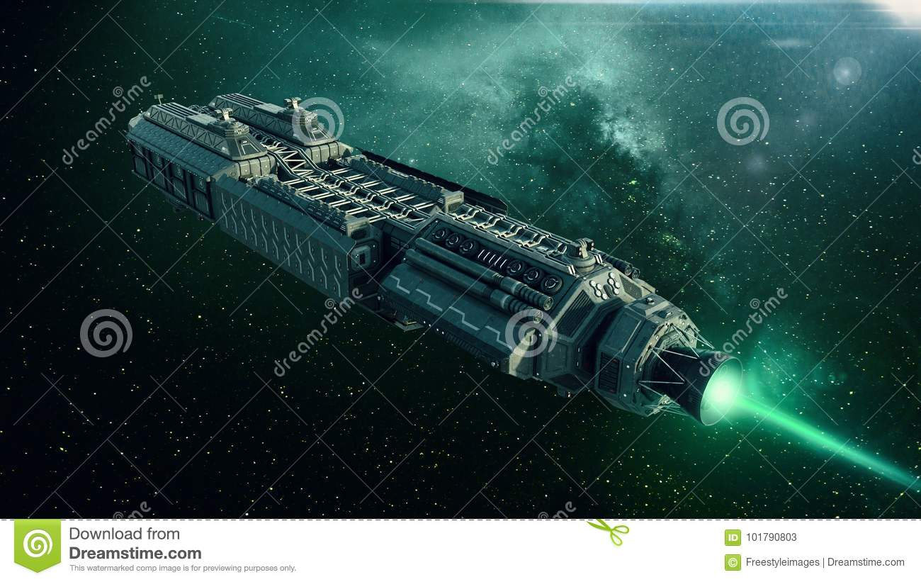 Spaceship In Space, Spacecraft Flying Through The Universe