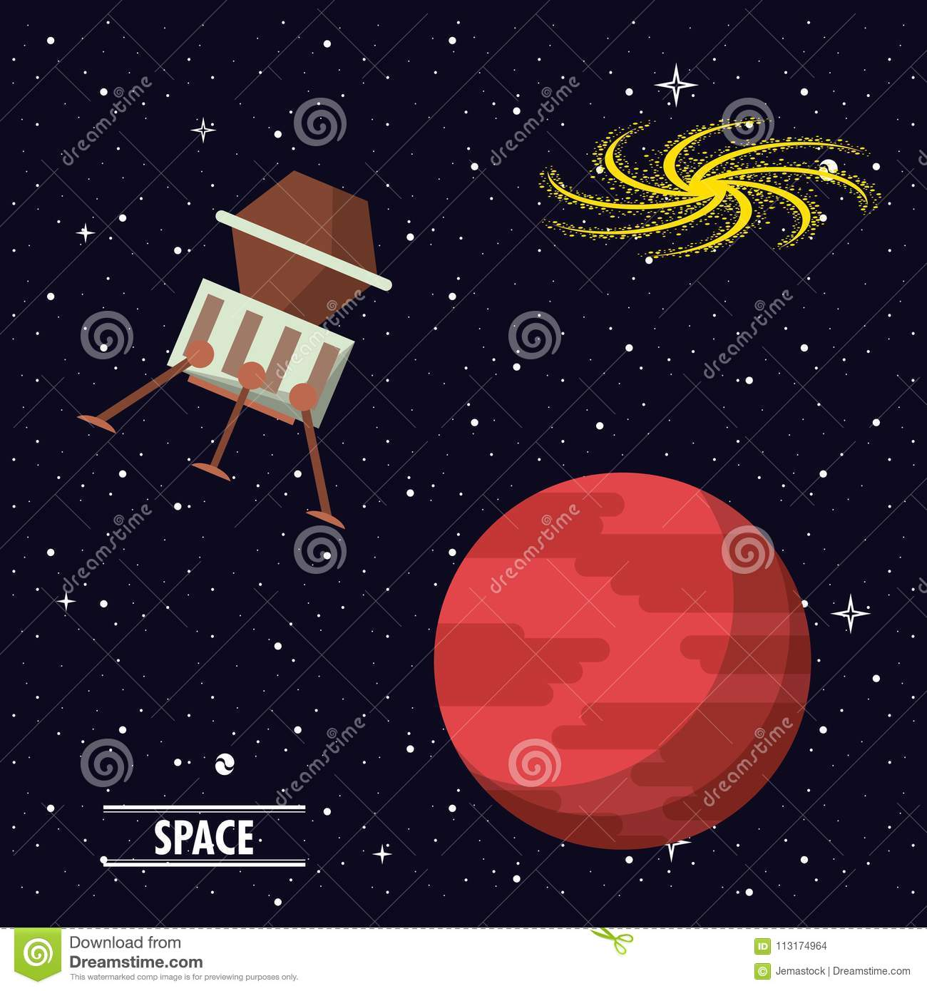 Spaceship Flying In The Space Stock Vector Illustration Of