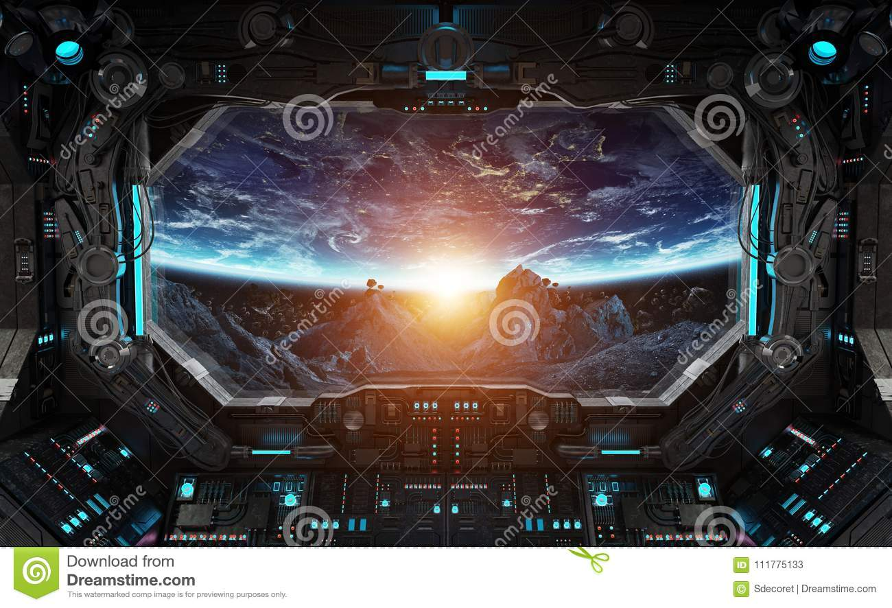 Spaceship grunge interior with view on planet Earth