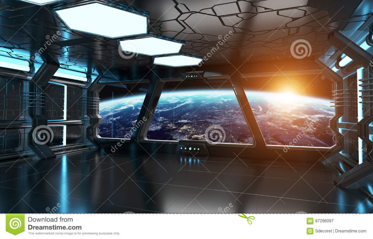 Spaceship Interior With View On The Planet Earth 3D ...