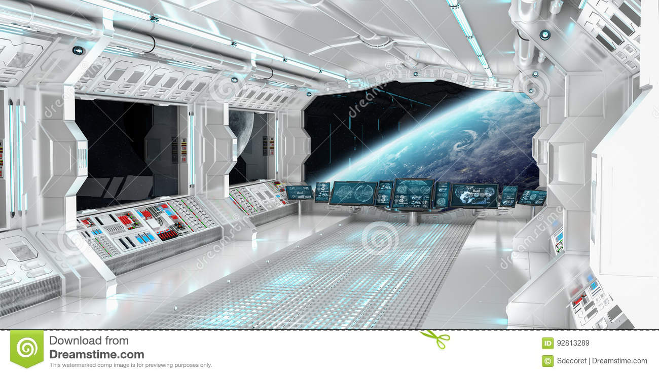 Spaceship Interior With View On The Planet Earth 3D