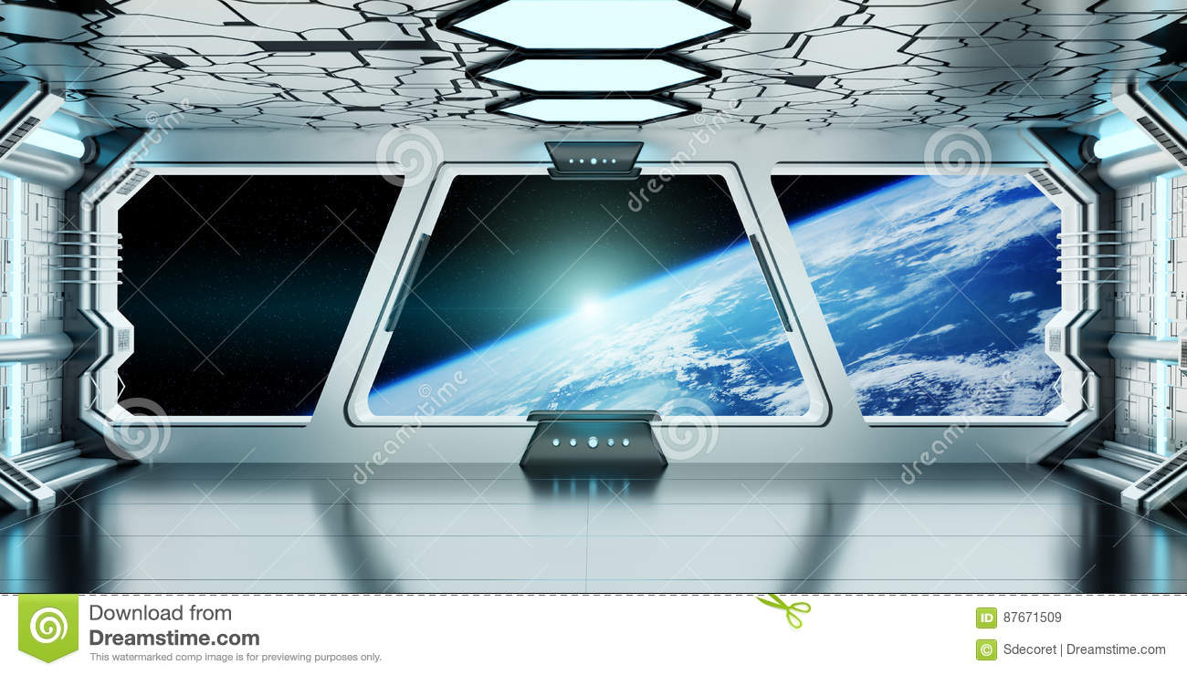 spaceship interior with view on the planet earth 3d rendering el stock illustration. Black Bedroom Furniture Sets. Home Design Ideas