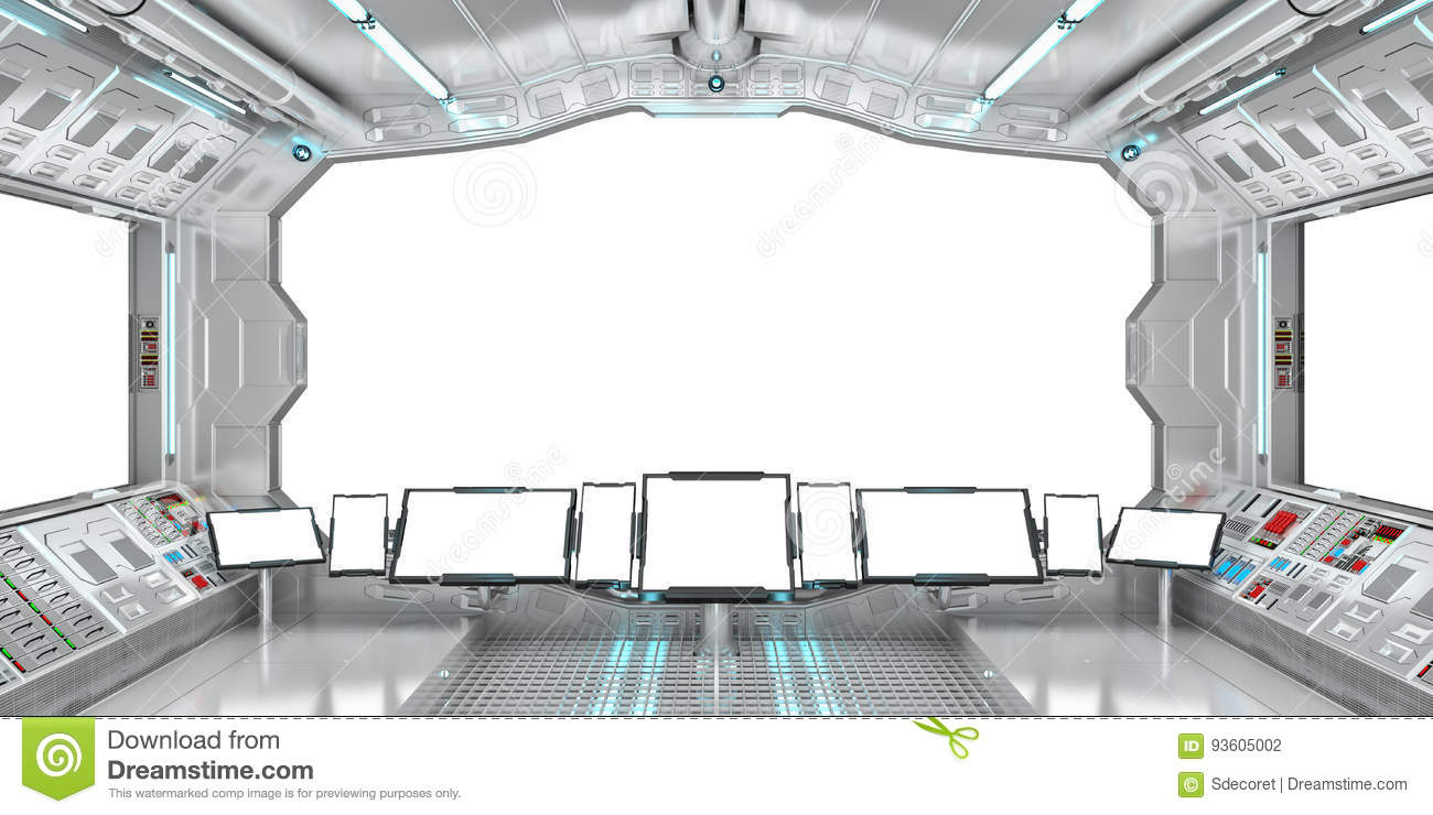 Spaceship Interior With View On White Windows 3D Rendering