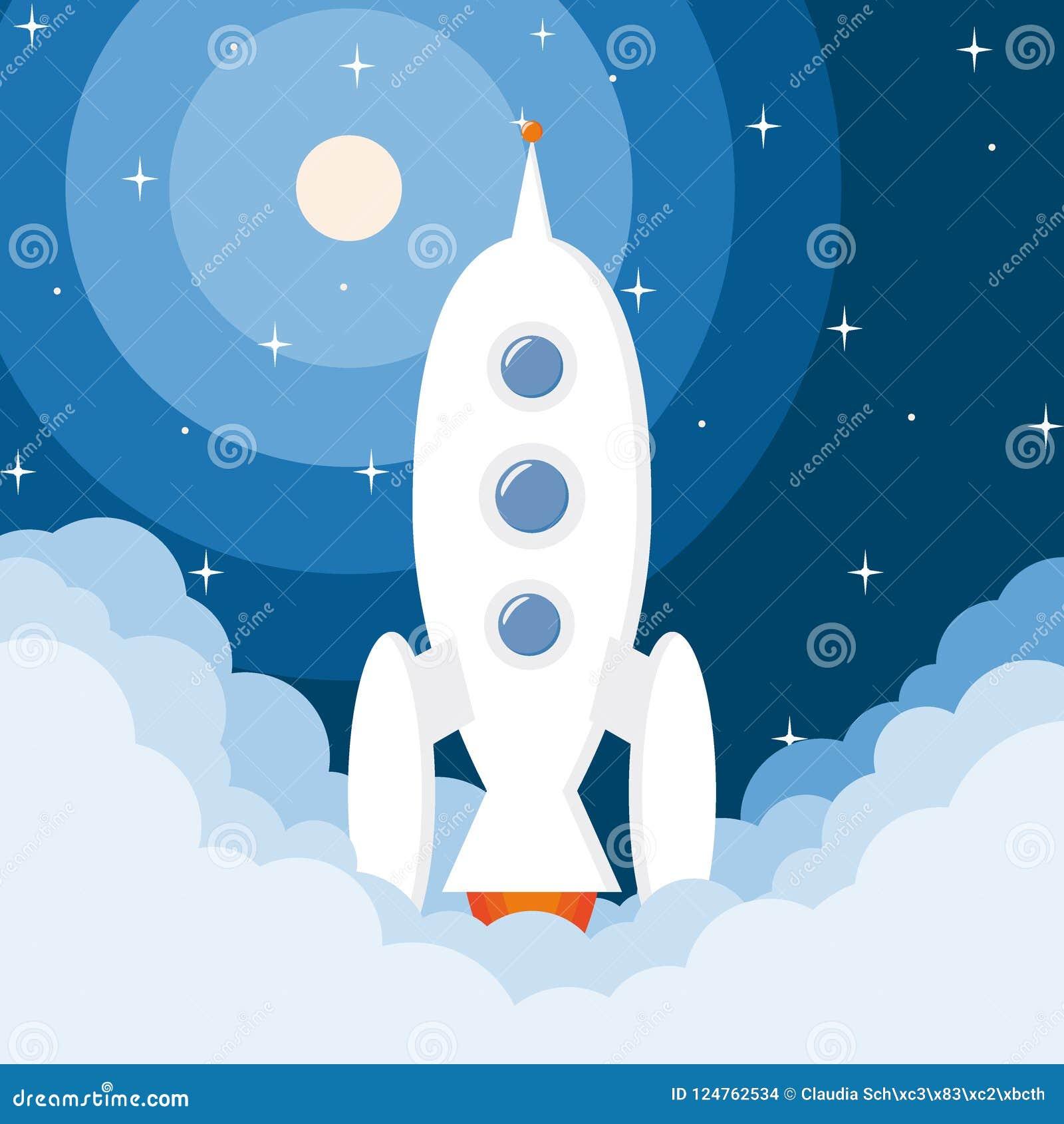Spaceship launch rocket start-up with stars