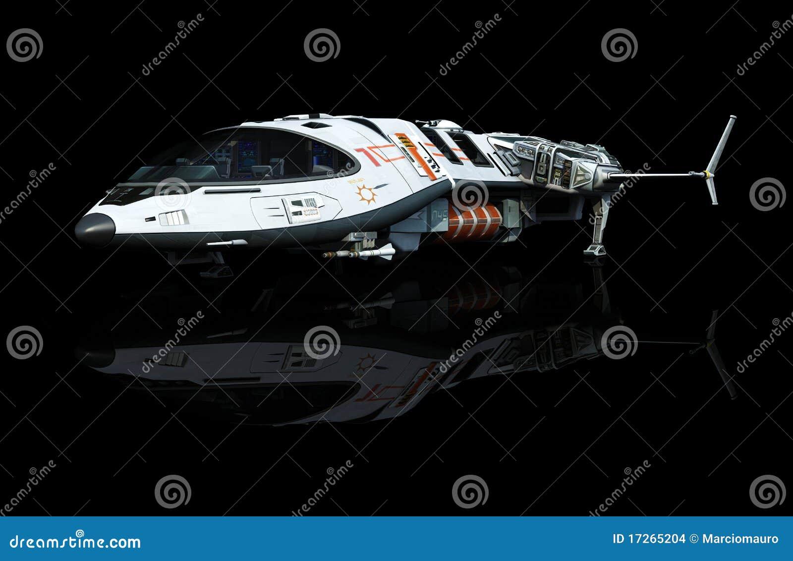 Spaceship ovanför oklarhetsbaksikten