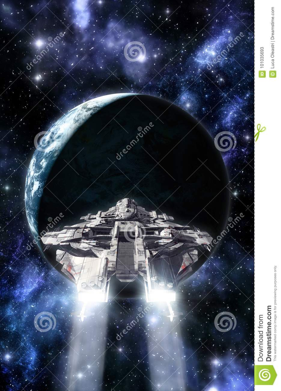 Spaceship and planet