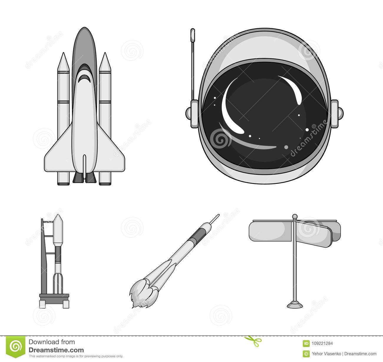 spaceship space cargo shuttle launch pad astronaut s helmet space technology set collection icons spaceship 109221284 a spaceship in space, a cargo shuttle, a launch pad, an astronaut`s