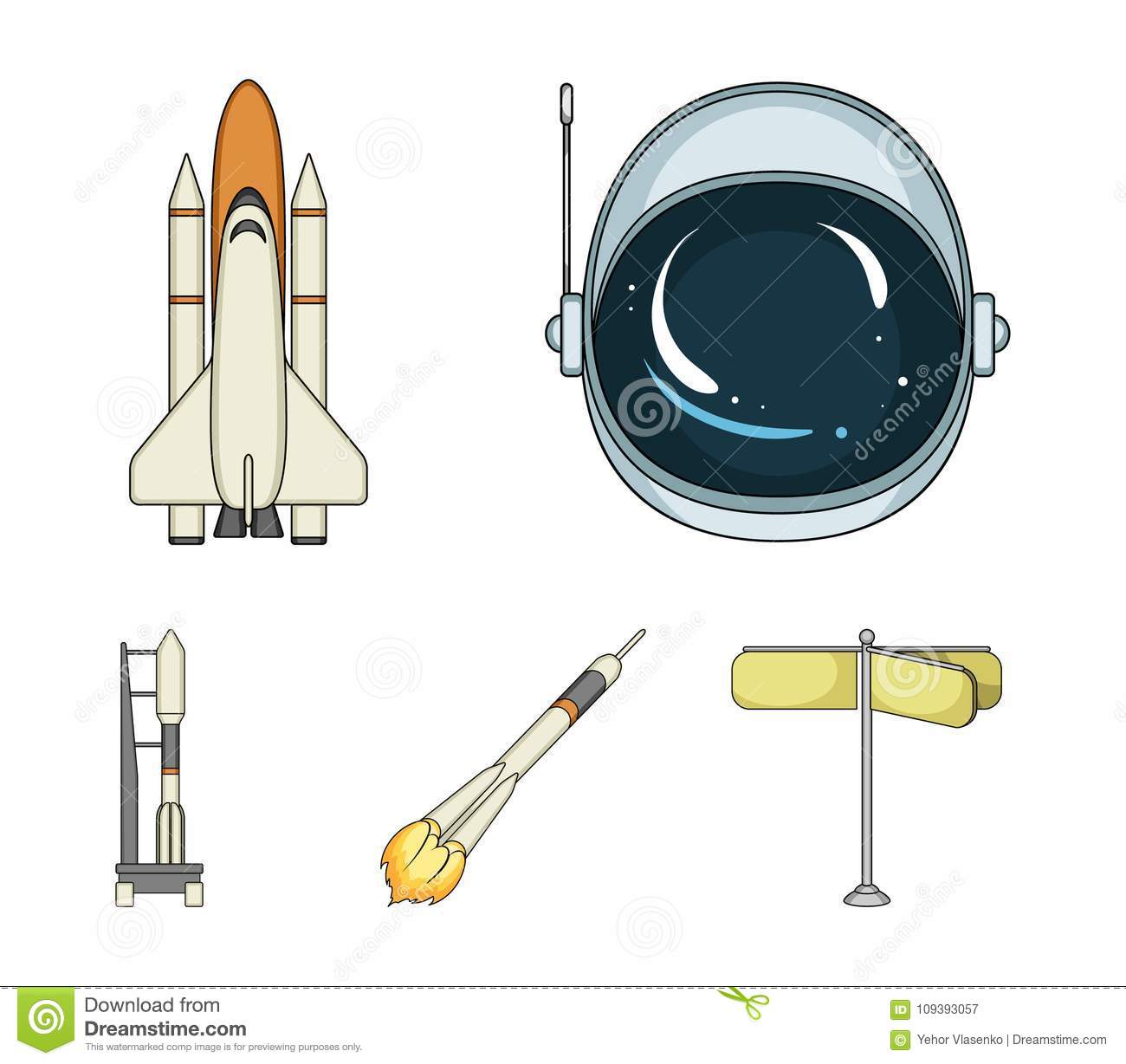 spaceship space cargo shuttle launch pad astronaut s helmet space technology set collection icons spaceship 109393057 a spaceship in space, a cargo shuttle, a launch pad, an astronaut`s