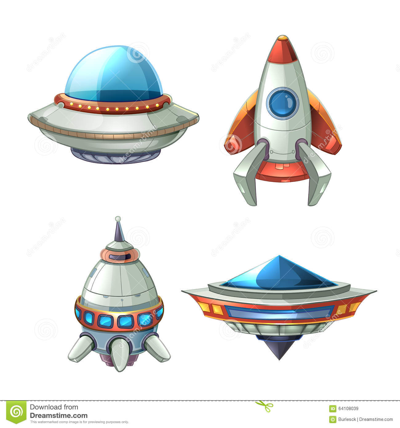 Spaceship and UFO vector set in cartoon style. Rocket and spacecraft ...