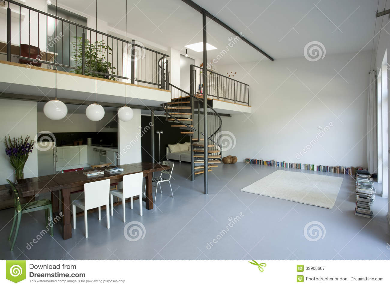 Spacious apartment with mezzanine stock image image of for Piani di garage free standing