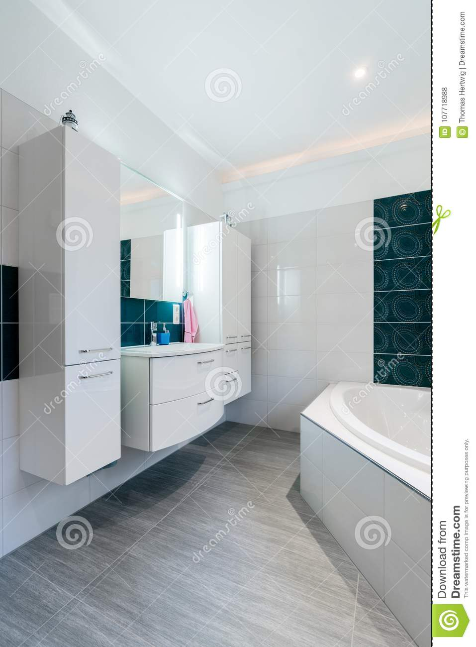 Spacious Bathroom In Blue And White Tones With Heated Floors, Walk ...