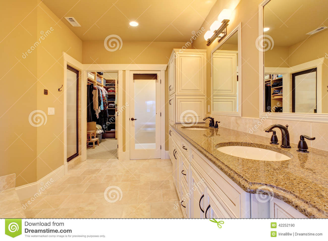 Spacious bathroom with walk in closet stock photo image 42252190 Tile in master bedroom closet