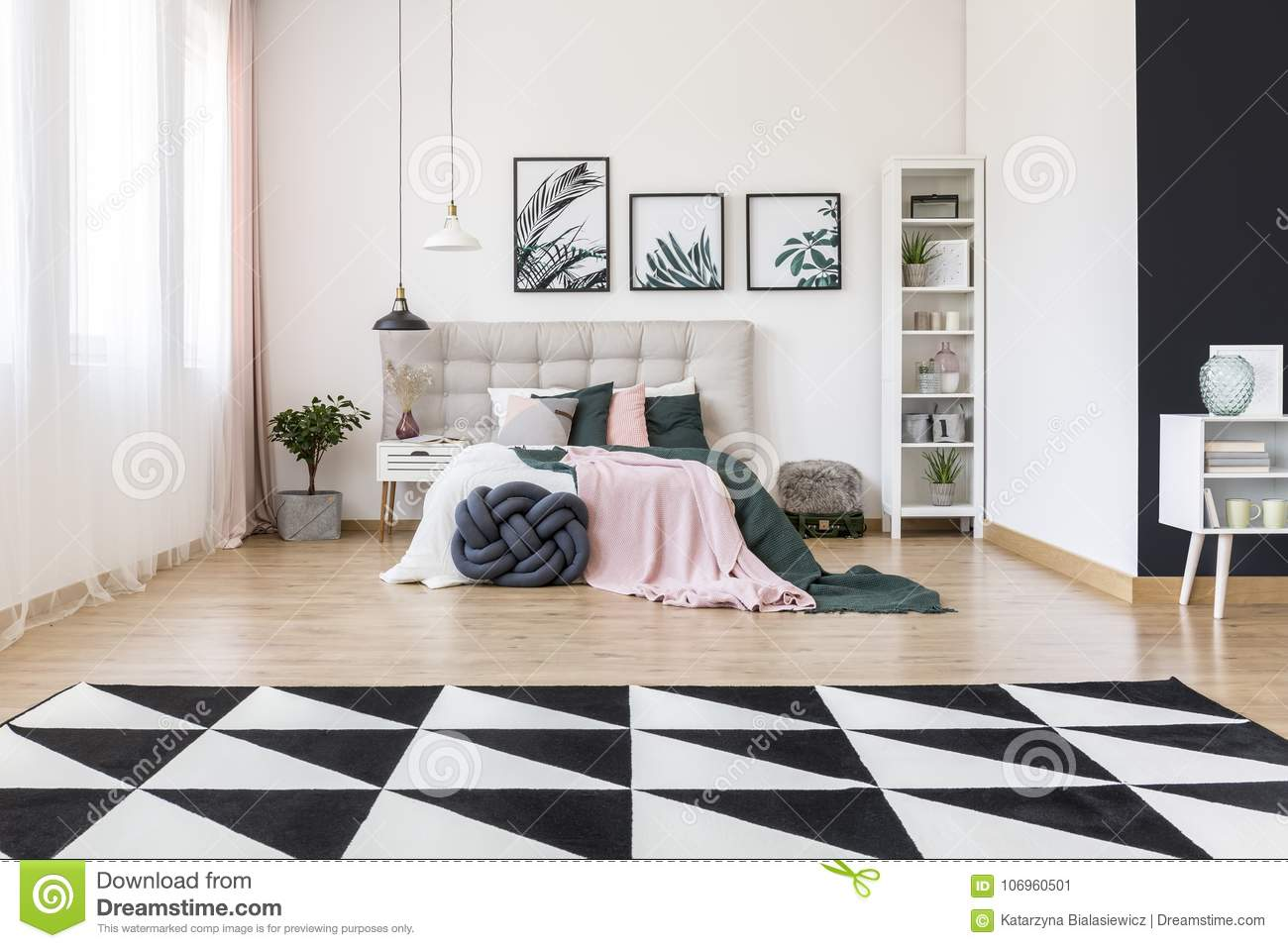 Spacious Bedroom With Carpet Stock Image Image Of Nightstand Apartment 106960501