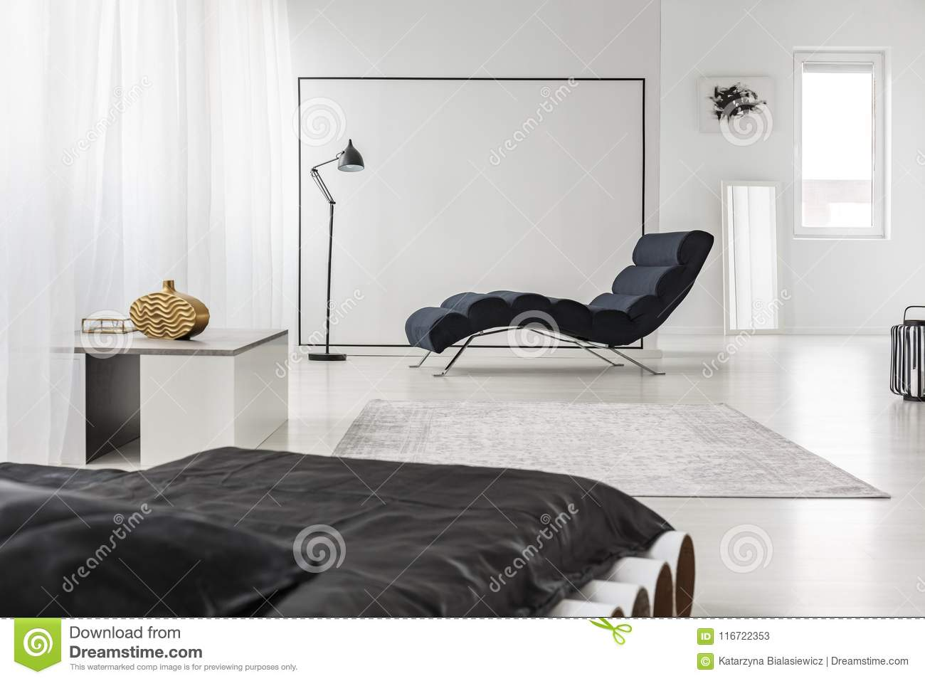Spacious Bedroom With Chaise Lounge Stock Image - Image of ...