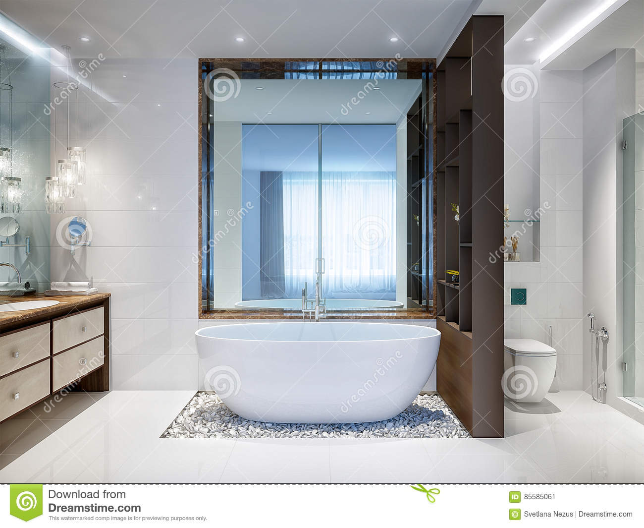 Spacious And Bright Modern Bathroom Stock Image - Image of glossy ...