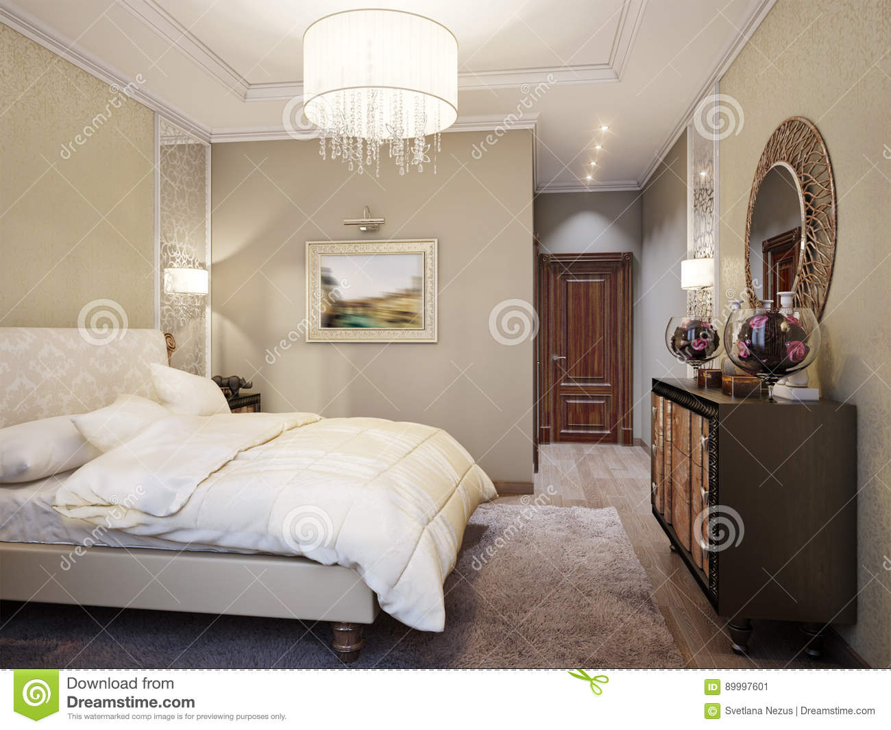 Spacious And Bright Modern Classic Bedroom Interior Design ...