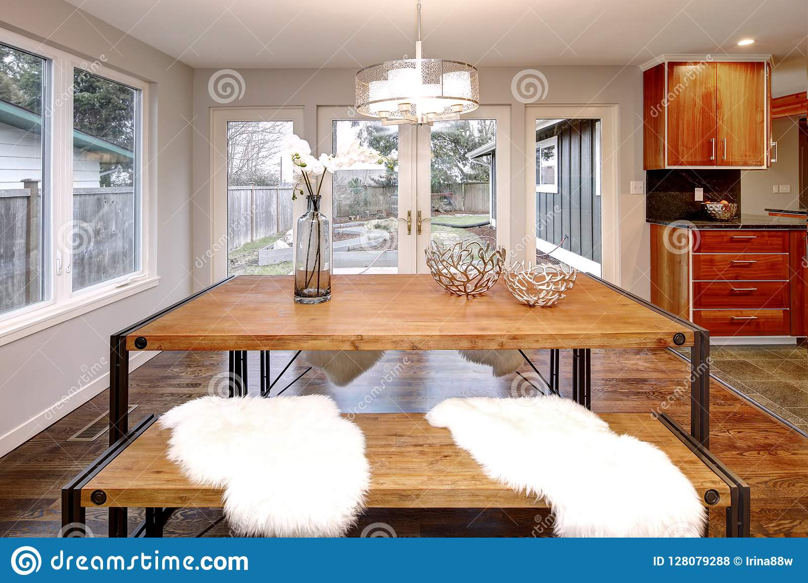 Spacious Dining Room With Wooden Dining Table Stock Photo Image Of House Northwest 128079288