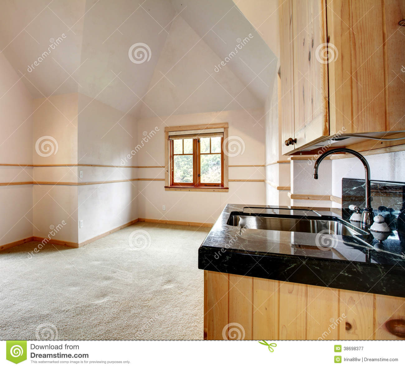 Empty Kitchen Cupboard: Spacious Empty Kitchen With Cathedral Ceiling Stock Image