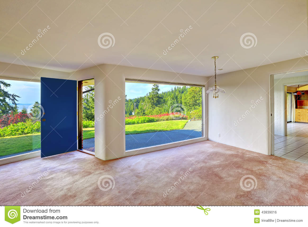 Spacious empty living room glass wall and backyard for Walkout basement windows