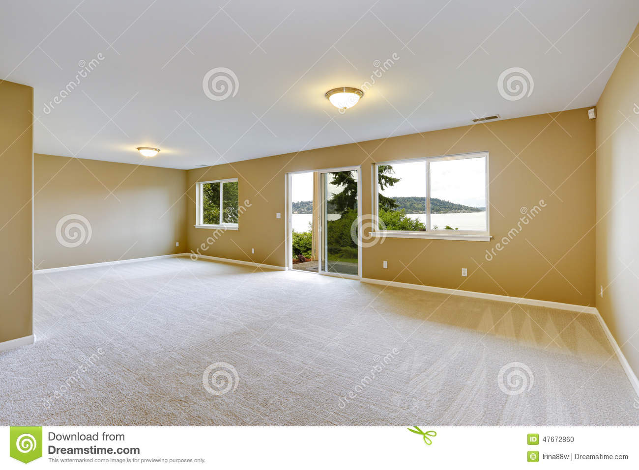 Spacious family room with clean carpet floor and exit to for How to carpet a room