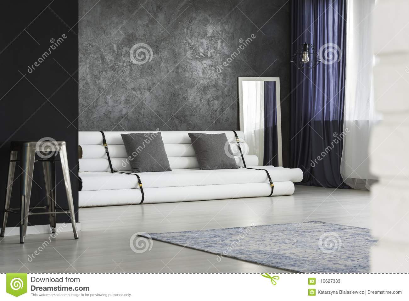 Spacious Grey Living Room Stock Image Of Flat
