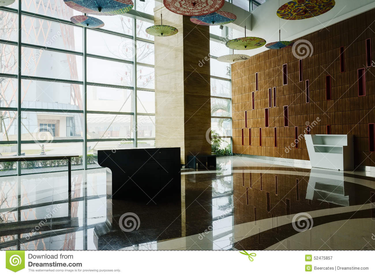 Spacious hall with large glass wall stock photo image for Large glass wall