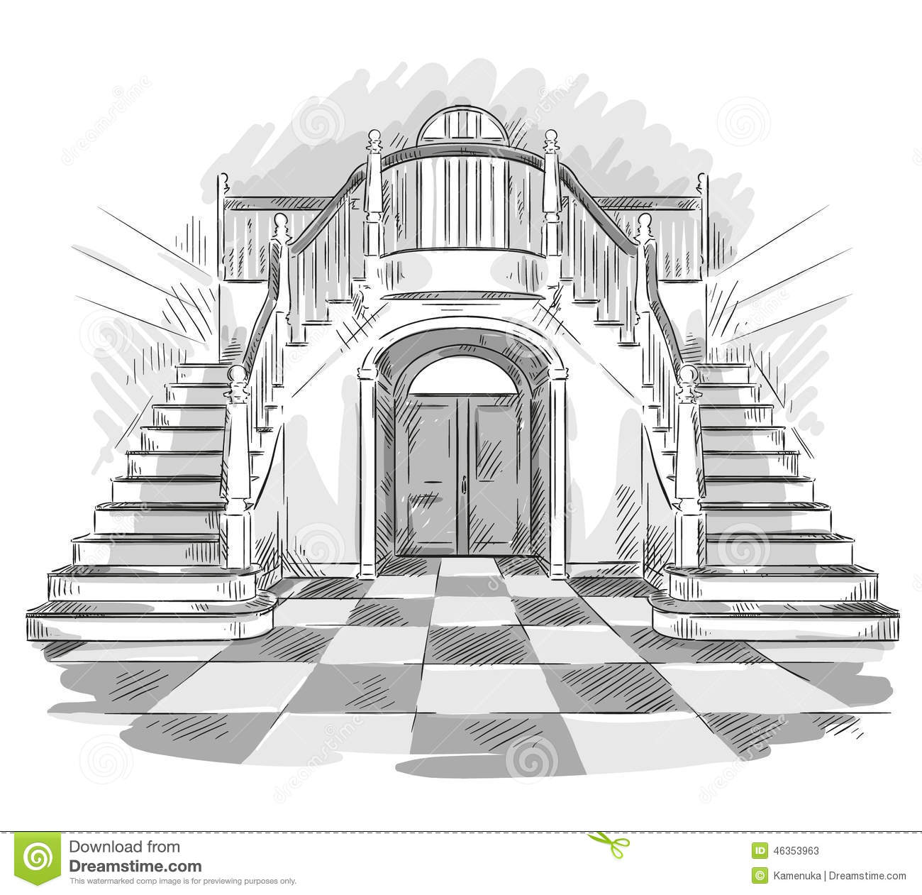 Spacious hall and staircase drawing vector illustration for Drawing hall design