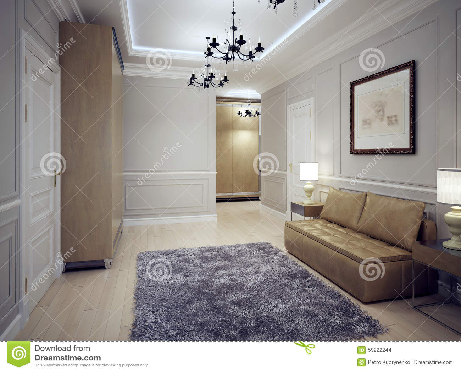 Spacious hallway art deco style stock photo image of elite