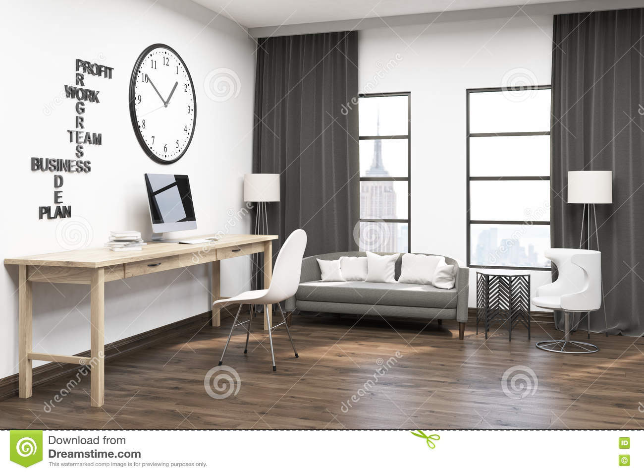 curtains for home office. Spacious Home Office Stock Illustration. Illustration Of Image - 75355614 Curtains For I