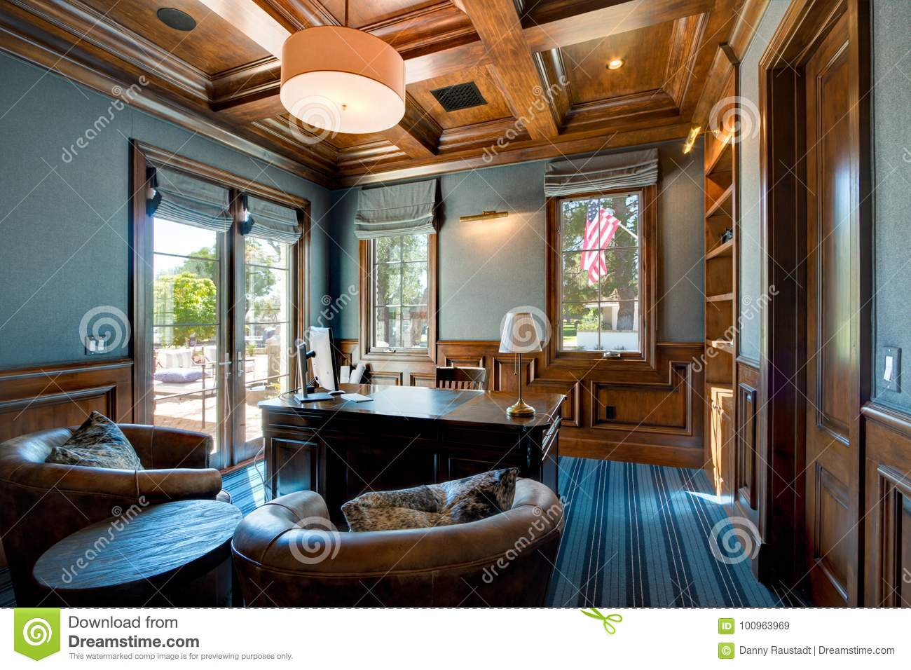 custom home office design stock on spacious home office with wood ceiling home office with wood ceiling stock image of fancy