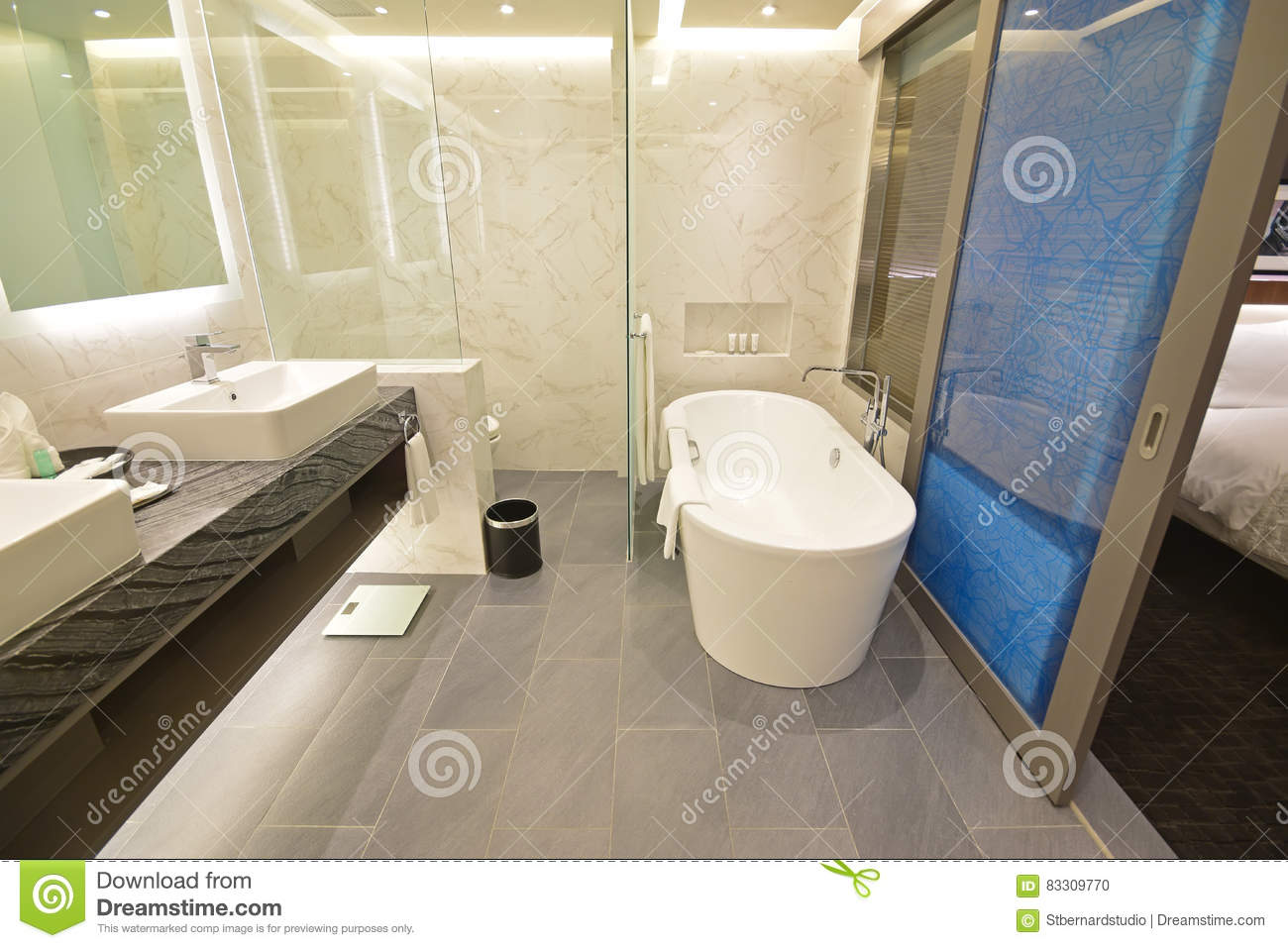 Spacious Hotel Suite Bathroom With Sliding Door Stock