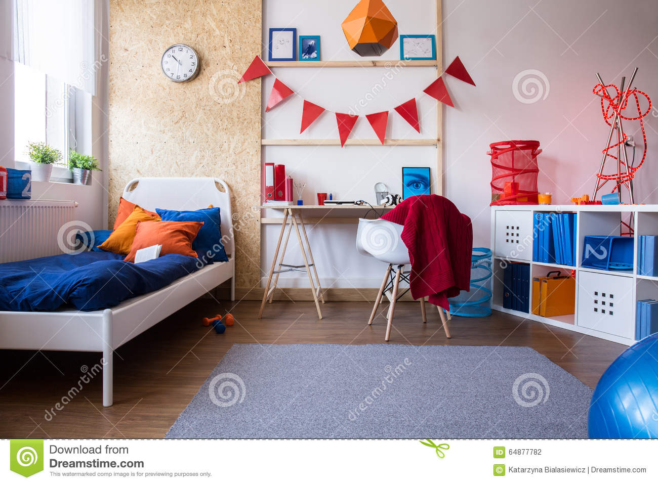 Teenager room interior design realistic image cartoon vector 81699143 - Colores habitaciones juveniles ...