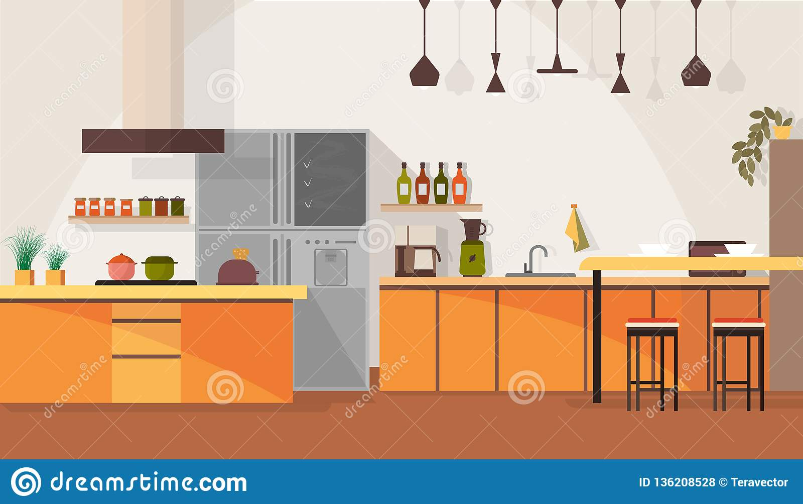 Modern Kitchen Interior Design Cartoon Vector Stock Vector ...