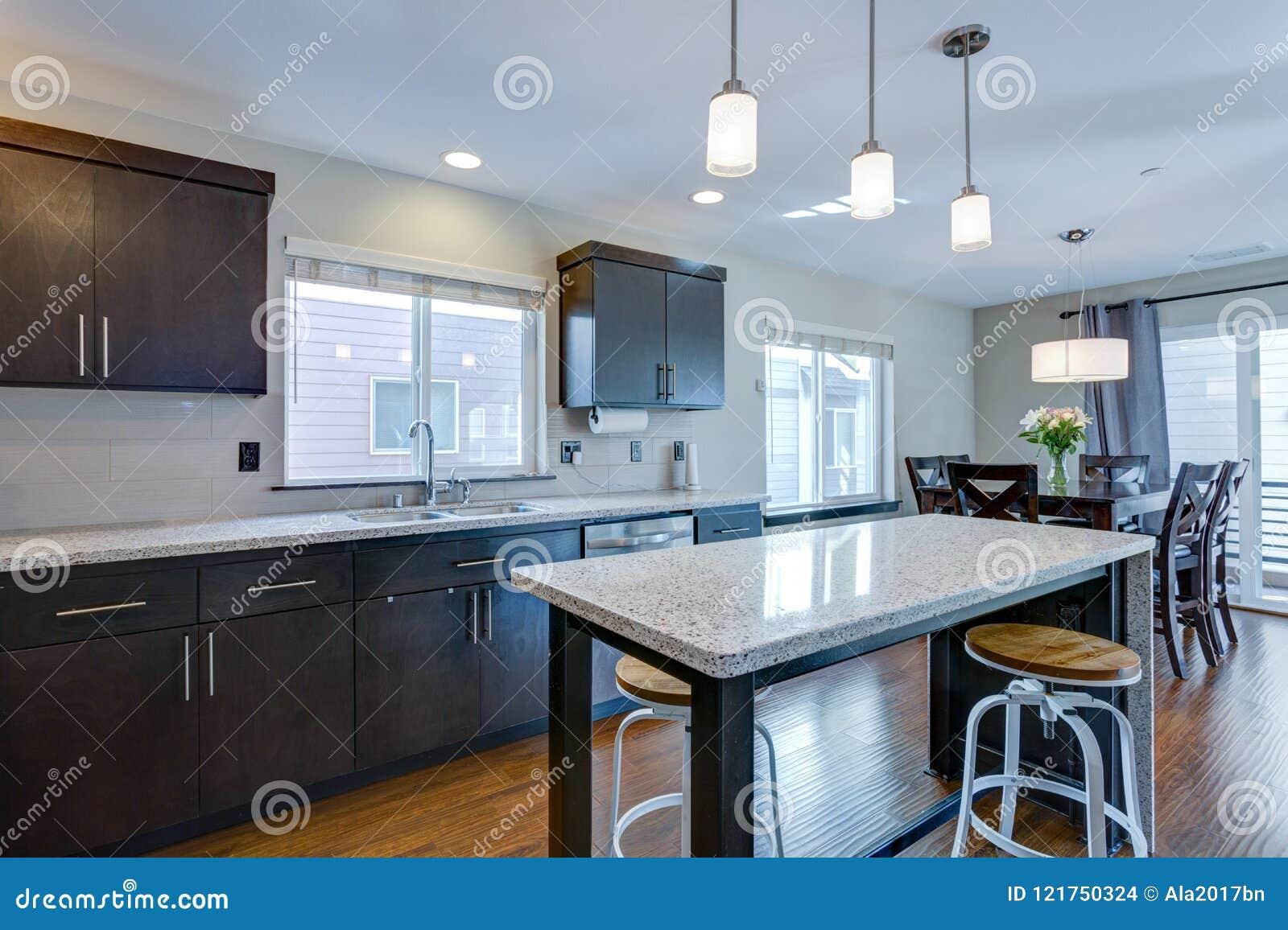 Spacious Kitchen With Open Floor Plan Stock Photo - Image of decor ...