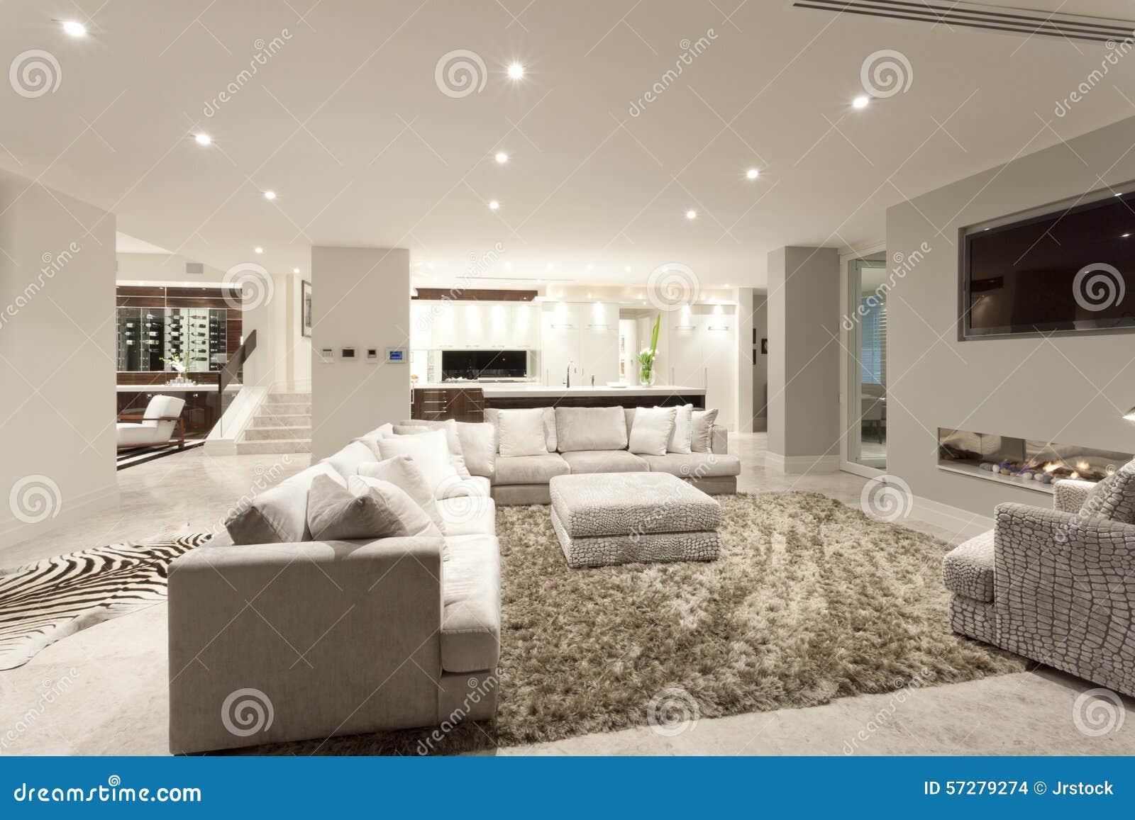 Spacious Living Room With A Big Carpet Stock Photo