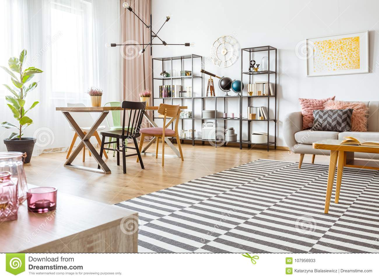 Spacious Living Room Interior Stock Image - Image of couch, lamp ...