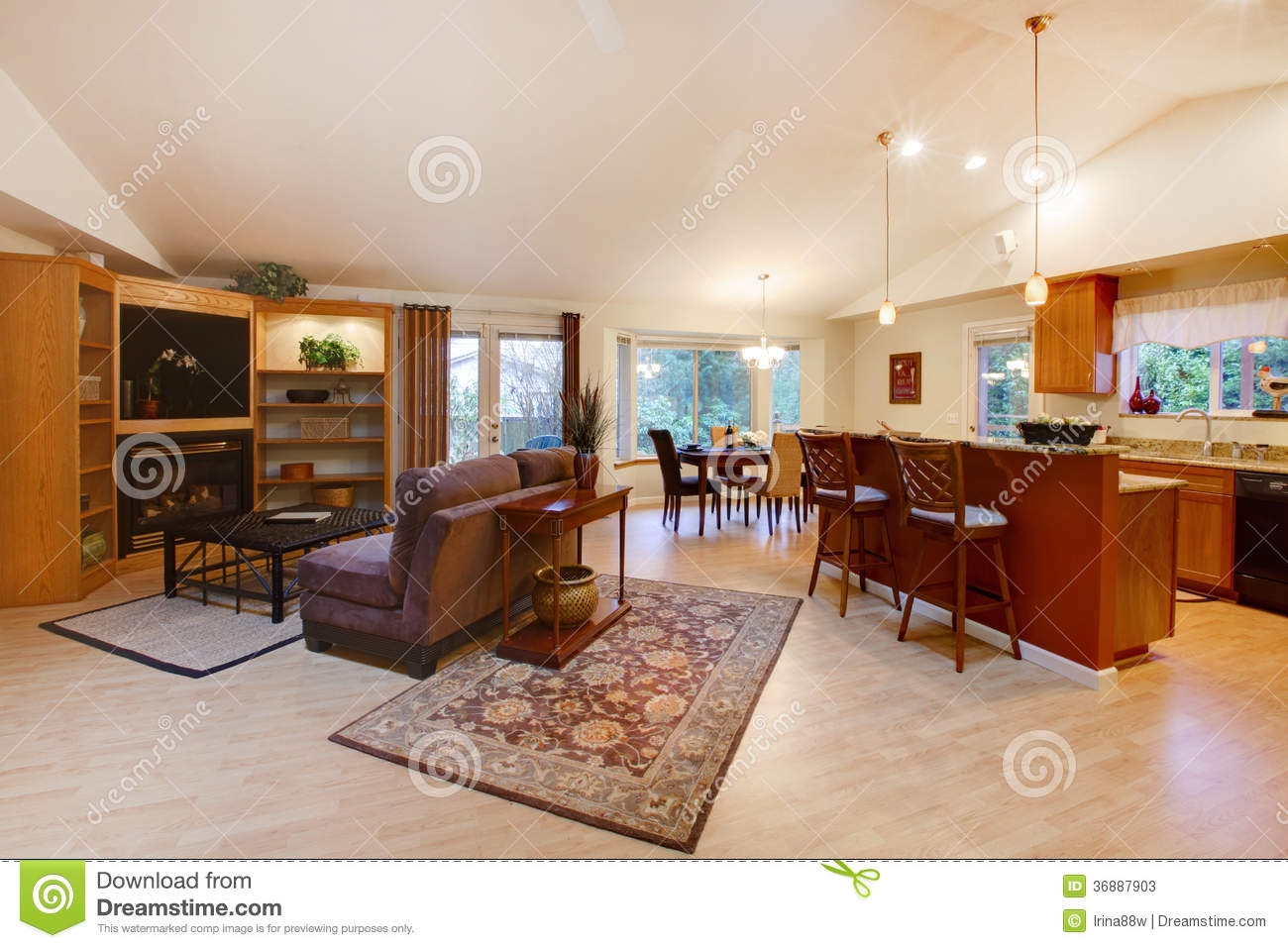 Spacious Living Room Kitchen And Dining Area Stock Image
