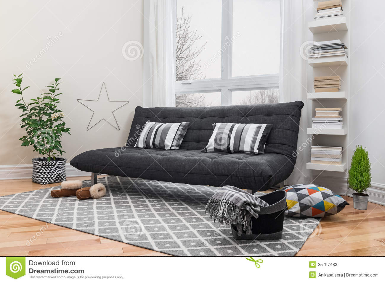 Spacious living room with modern decor stock photos image 35797483 - Modern furnishings decor images ...