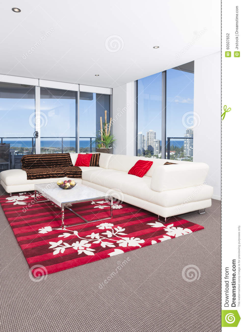 spacious living room with a red carpet stock photo image of carpet