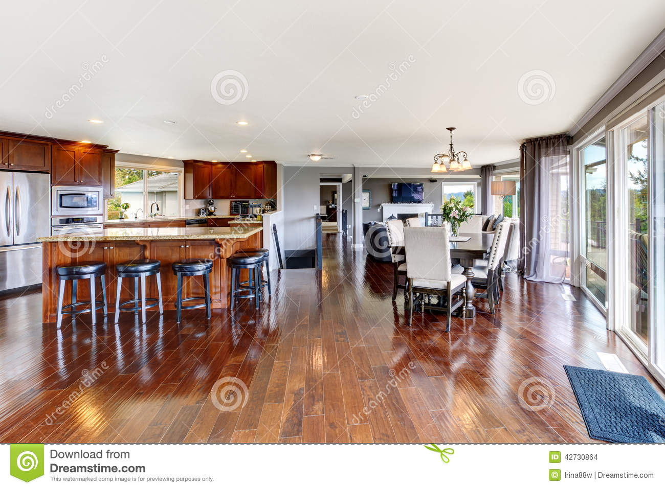 Spacious luxury kitchen room and dining area stock photo for Dining area interior