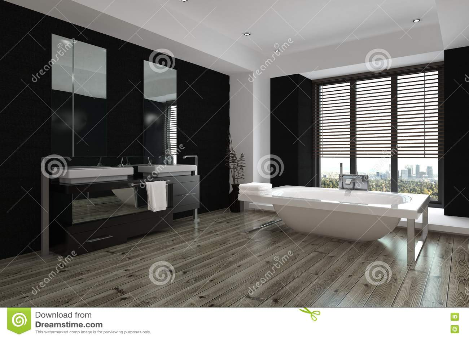 Spacious modern black and white bathroom interior
