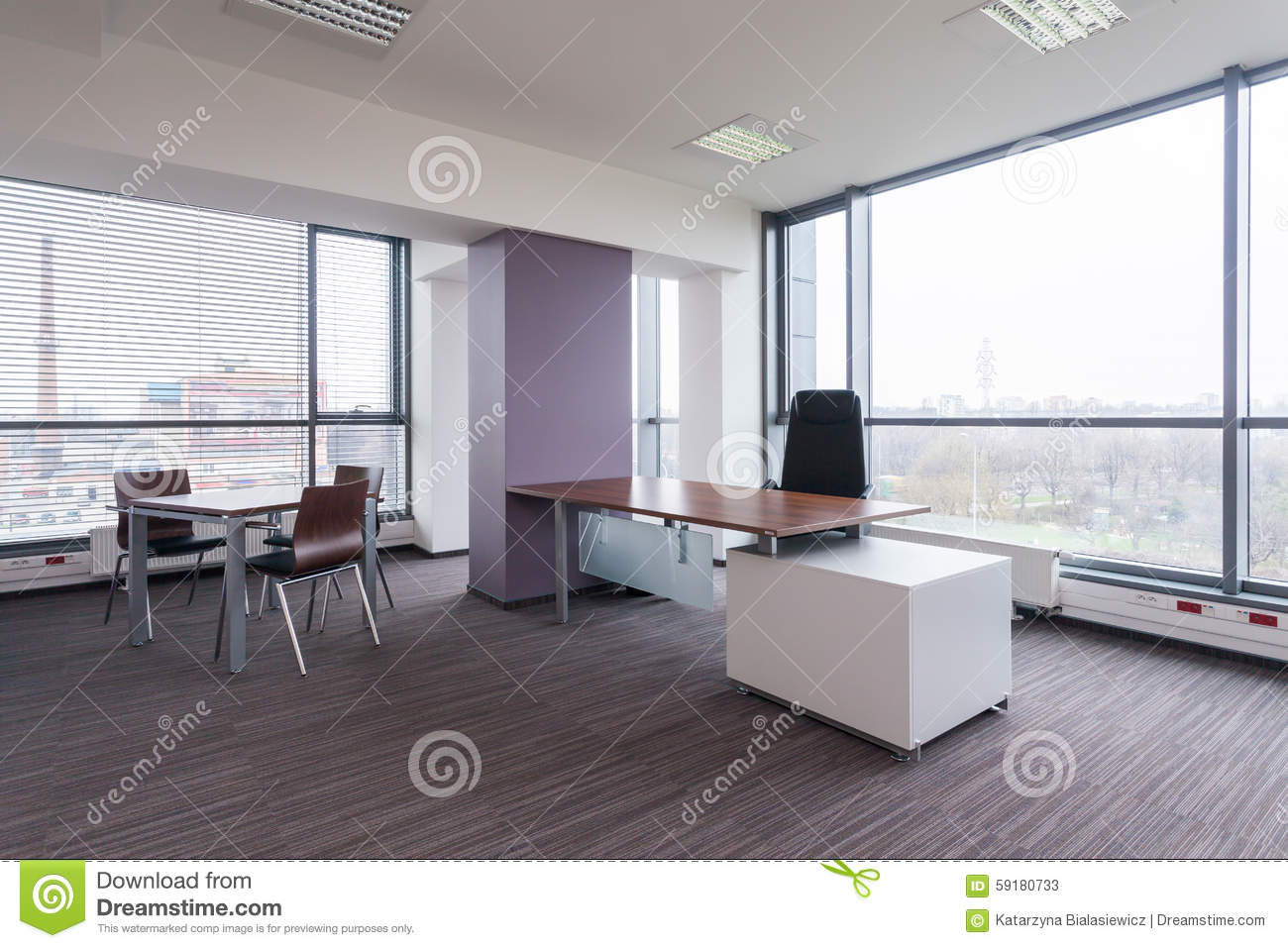 Spacious modern bureau stock image. image of space room 59180733