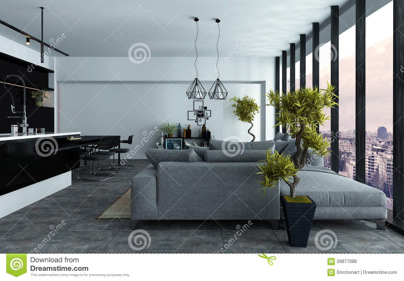 Spacious Modern Open-plan Living Room Stock Photo - Image of ...