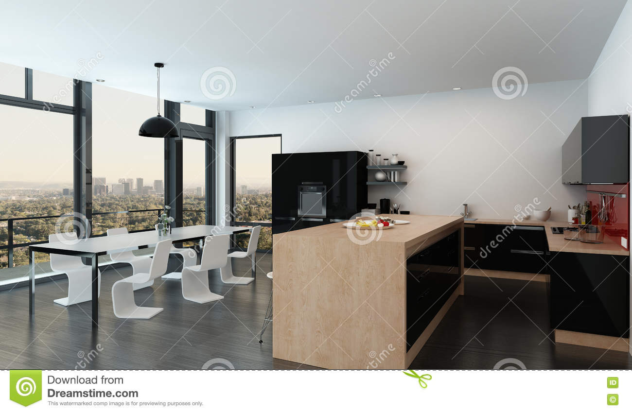 Spacious Open Plan Kitchen Dining Room Interior Stock