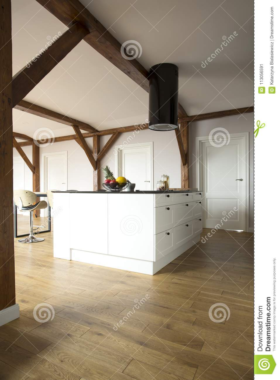 Spacious open space with kitchen