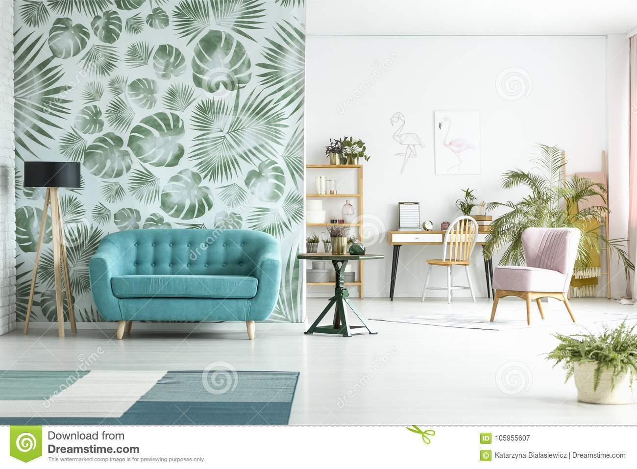 Surprising Spacious Room With Blue Couch Stock Image Image Of Gmtry Best Dining Table And Chair Ideas Images Gmtryco